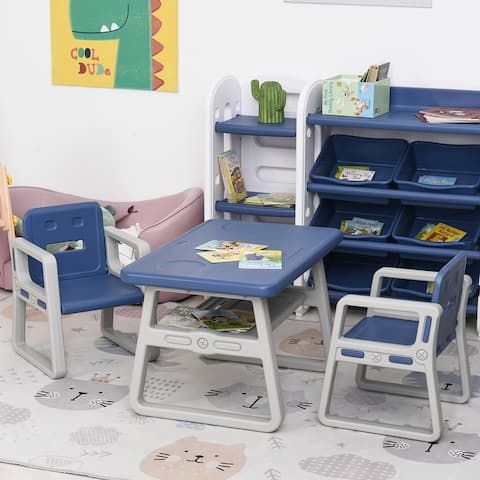 Qaba 3-Piece Kids Table and Chair Set Writing Desk with 2 Comfort Chairs, Storage Space, & Child-Safe Materials