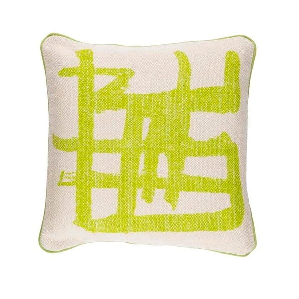 """20"""" Key Lime Green and Taupe Gray Asian Design Woven Throw Pillow"""