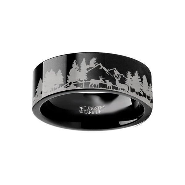 THORSTEN - Animal Scene Reindeer Deer Stag Mountain Range Canvas Ring Engraved Flat Black Tungsten Ring - 10mm