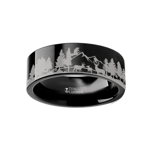 THORSTEN - Animal Scene Reindeer Deer Stag Mountain Range Canvas Ring Engraved Flat Black Tungsten Ring - 4mm
