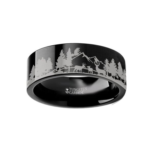 THORSTEN - Animal Scene Reindeer Deer Stag Mountain Range Canvas Ring Engraved Flat Black Tungsten Ring - 6mm