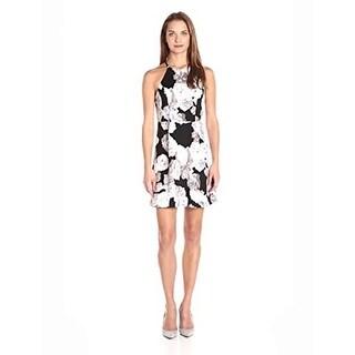 BCBG Generation Women's High Neck Dress, Black/White, 2