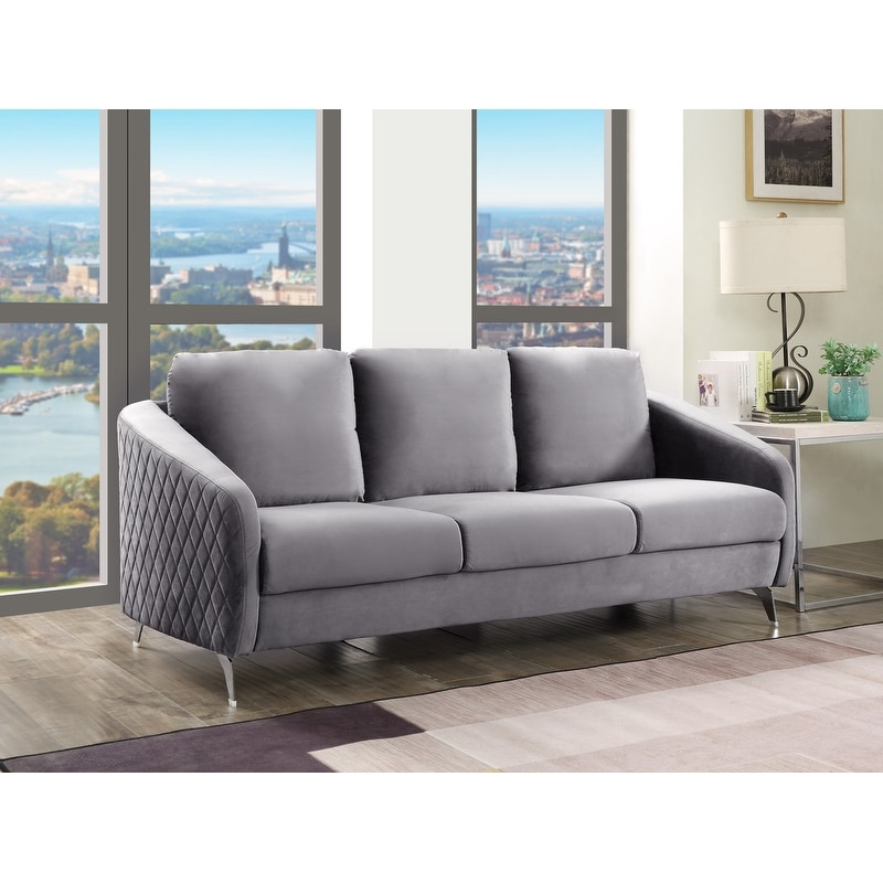 Sofia Gray Velvet Sofa Couch
