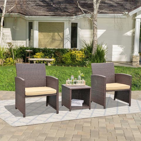 Outdoor 3-piece Wicker Conversation Set with Cushions
