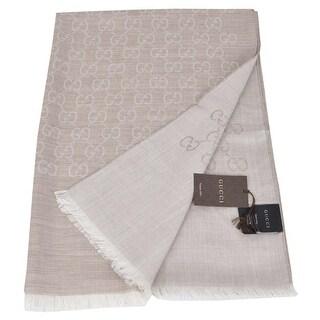 Gucci 165903 XL Camel Beige Wool Silk GG Guccissima Scarf Shawl - sand beige