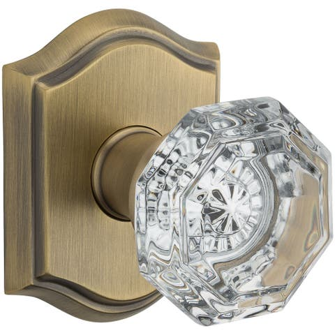 Baldwin PS.CRY.TAR Crystal Passage Door Knob Set with Traditional Arch