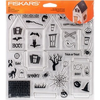 """Fiskars Clear Stamps 8""""X8""""-Tiny Little Haunted House"""