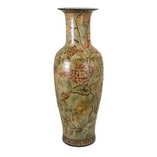 "36"" Antique-Style Floral Decorative Table Top Ceramic Glazed Vase"