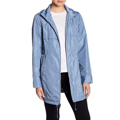 Via Spiga Blue Womens Size XS Babydoll Front-Zip Hooded Jacket