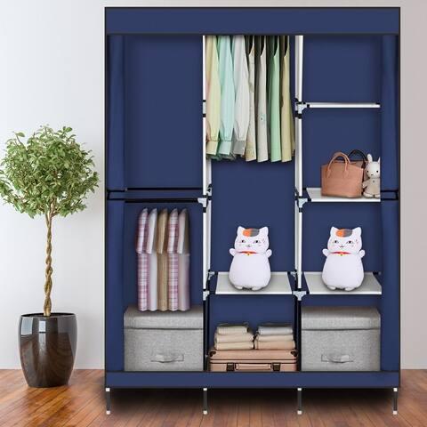 "71"" Portable Closet Wardrobe Clothes Rack Storage Organizer with Shelf"