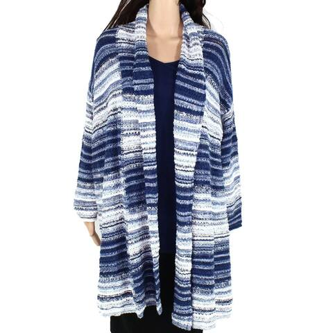 Style & Co Womens Sweater Blue Size 2X Plus Knit Flyaway Cardigan