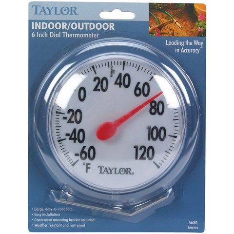 """Taylor 5630 Thermometer Indoor/Outdoor, 6"""" Dia. - White"""