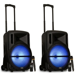 "Acoustic Audio PRTY152 Battery Powered 15"" Bluetooth LED Speakers Wireless Mics"