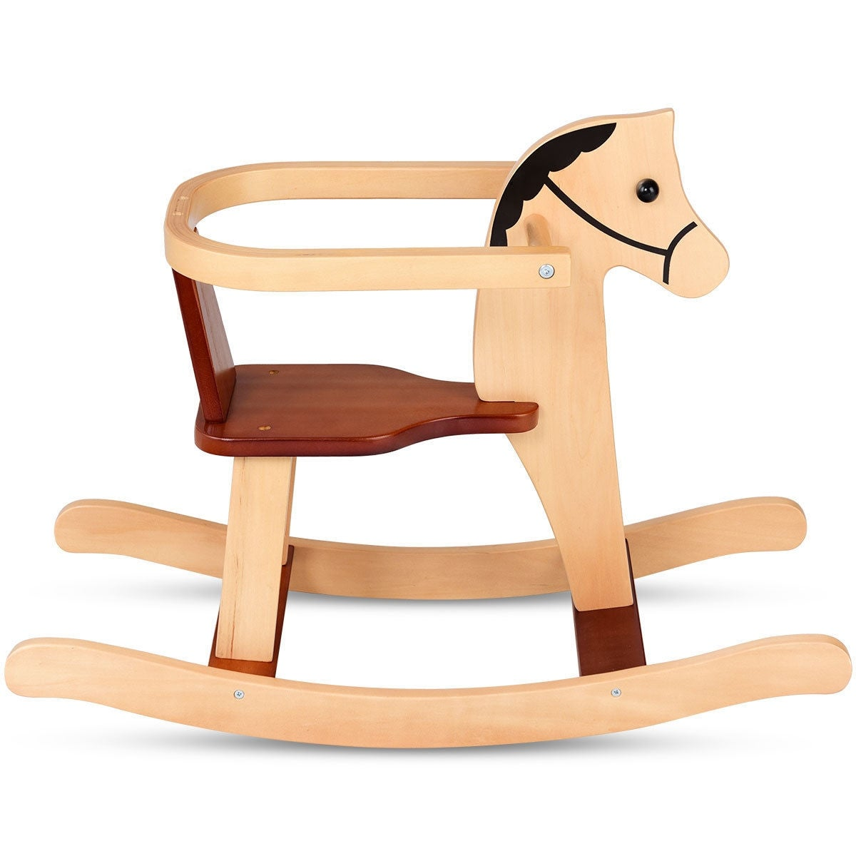 Gymax Baby Kids Toy Wooden Rocking Horse Animal Rider Chair Bar Security Boys Girls As Pic