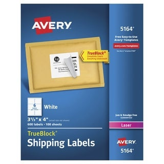 Avery Permanent-Adhesive Shipping Labels with TrueBlock Technology For Laser Printers, 3-1/3 x 4 in, White, Box of 600