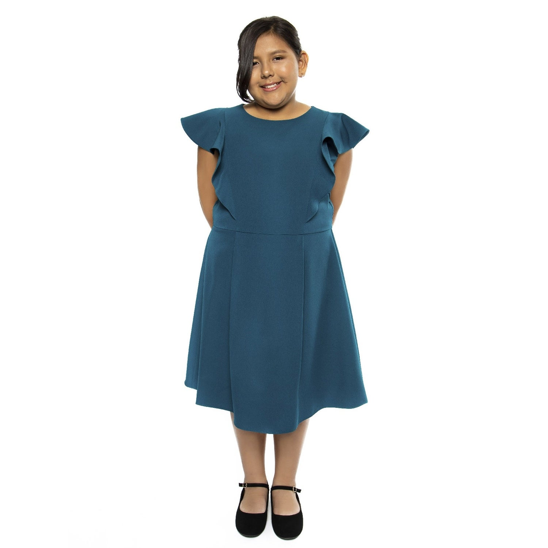 Kids Dream Girls Teal Princess Line Ruffle Plus Size Dress