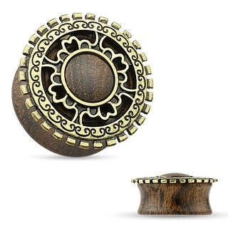 Antique Gold Plated Tribal Shield Top Organic Wood Saddle Plug (Sold Ind.)