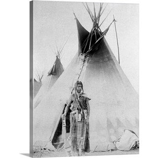 """Black Foot North American Indian with teepee"" Canvas Wall Art"