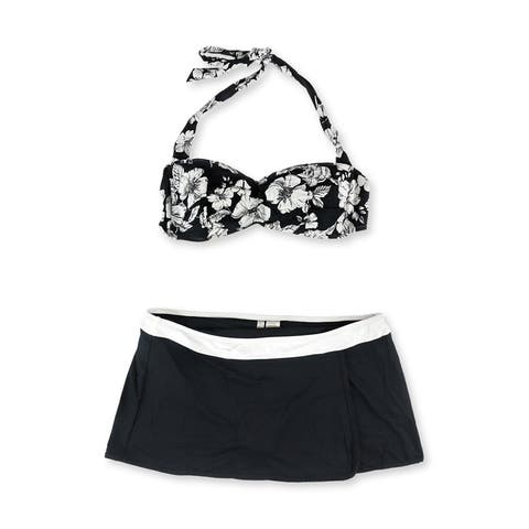 Anne Cole Womens Floral Halter Skirt 2 Piece Bikini