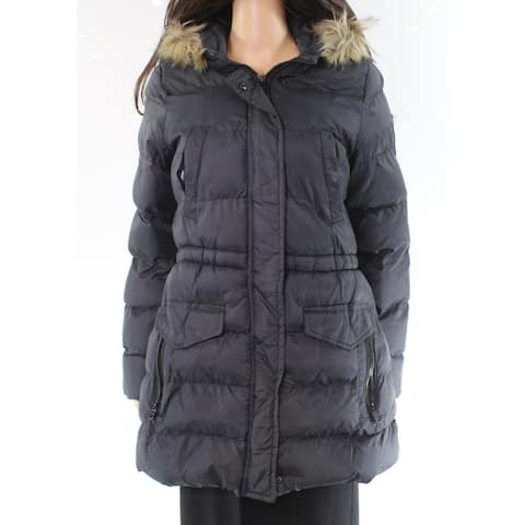 Marc York Andrew Black Faux-Fur Small S Full-Zip Puffer Jacket