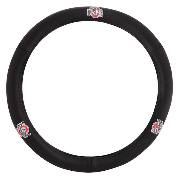 Pilot Automotive Black Leather Ohio State Buckeyes Car Auto Steering Wheel Cover