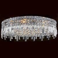 Worldwide Lighting W33609C24 Cascade 9 Light Flush Mount Ceiling Fixture - Polished chrome