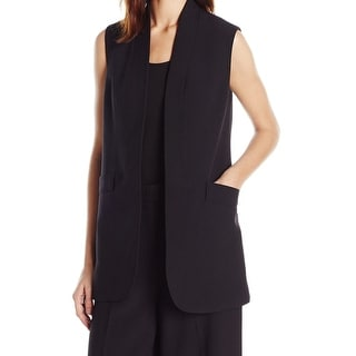 Anne Klein NEW Black Women's Size 14 Pocket Open Front Vest Jacket