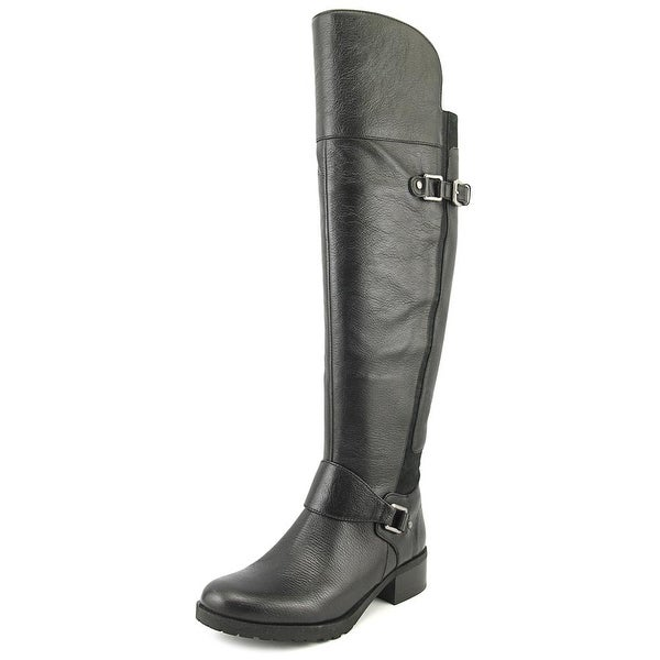 Nine West Wild One Women Round Toe Leather Black Knee High Boot