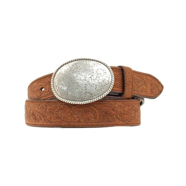Nocona Western Belt Mens Tooled Basket Leather Brown