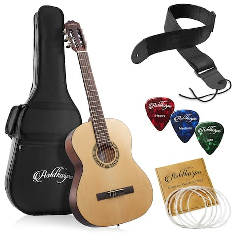 39-in Full-Size Classical Acoustic Guitar w/ Nylon Strings - Ashthorpe