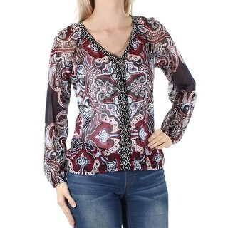 Womens Maroon Black Long Sleeve V Neck Top Size S