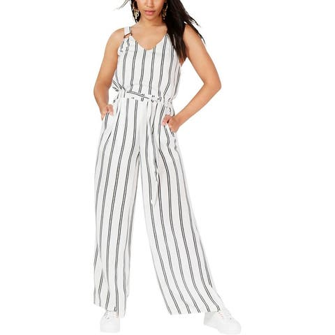 Rosie Harlow Womens Juniors Jumpsuit Striped O-Ring - Bright White