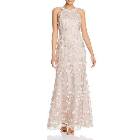 Eliza J Womens Formal Dress Floral Sleeveless - Beige