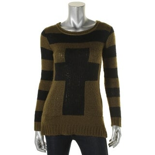 Material Girl Womens Juniors Pullover Sweater Striped Long Sleeves - S