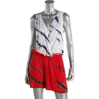 Red Haute Womens Silk Inset Tie-Dye Romper