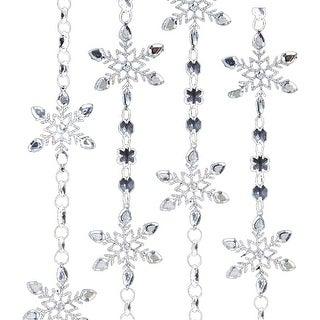 Iridescent Silver Beaded Snowflake Christmas Holiday Tree Garland 4 Feet