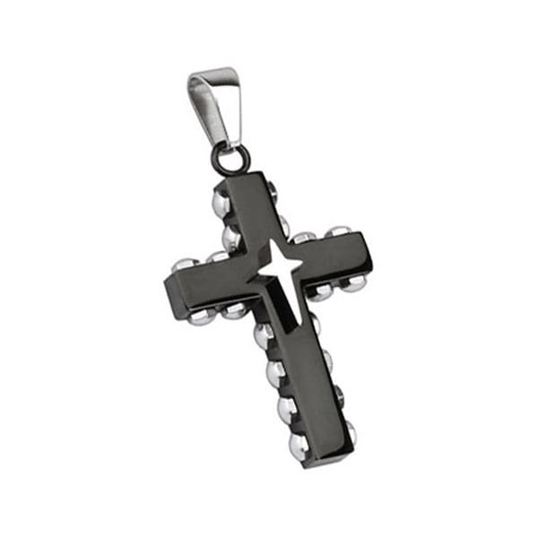Stainless Steel Black Plated Bolted Cross with Star Cross Pendant (26 mm Width)