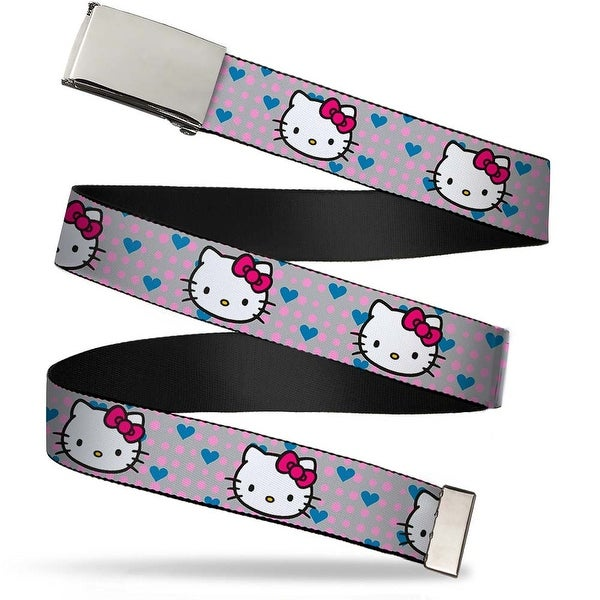 Blank Chrome Bo Buckle Hello Kitty Close Up W Dots & Hearts Gray Pink Web Belt