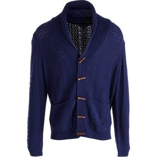 QUINN Mens Cable Knit Long Sleeves Cardigan Sweater - M