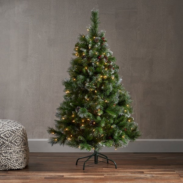 4.5-ft Spruce Pre-Lit or Unlit Artificial Christmas Tree with Glitter Branches Red Berries Pinecones by Christopher Knight Home. Opens flyout.