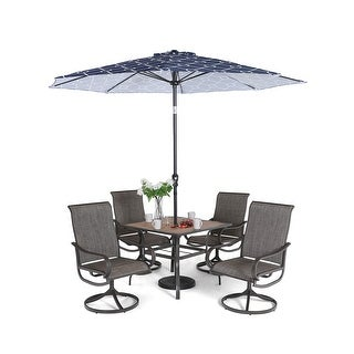 """Link to Sophia & William Patio Dining Set 6 Pieces with 9 ft Umbrella, 1x Square 37""""x 37"""" Dining Table, 4 Swivel Chairs Furniture Set Similar Items in Outdoor Dining Sets"""