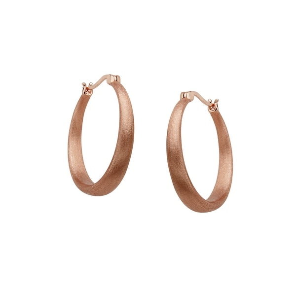 Semi-Matte Finish Hoop Earrings in 18K Rose Gold Plate - Pink