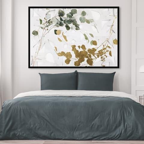 Oliver Gal 'Golden Leaves' Floral and Botanical Wall Art Framed Print Botanicals - Gold, Green