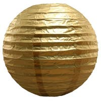 Set of 5 Decorative Metallic Gold Colored Round Paper Lanterns 10""