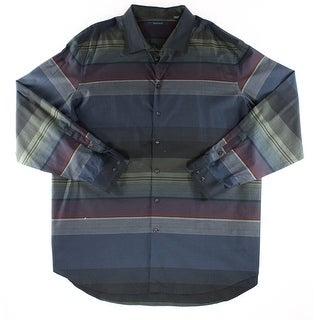 Perry Ellis NEW Black Red Mens Size 3XLT Striped Button Down Shirt