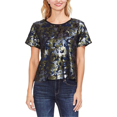 Vince Camuto Womens Camo Sequined Embellished T-Shirt