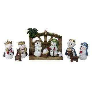 "11 Piece Gold Glittered Snowman Christmas Nativity Tabletop Set 6.5"" - WHITE"