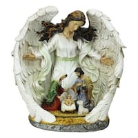 """12"""" Guardian Angel and the Holy Family Nativity Scene Christmas Table Top Decoration - White"""