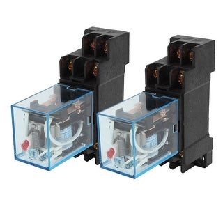 2 x Plastic Shell AC110V 10A Coil Electromagnetic Relay 8P DPDT 2NO 2NC w Socket