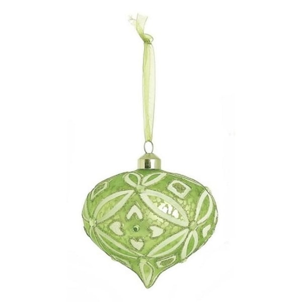 """4"""" Enchanted Forest Green Glittered and Frosted Glass Onion Christmas Ornament"""